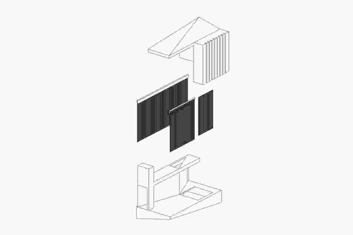 Axonometric: Suspended writer's cabin design by Nobbs Radford Architects.