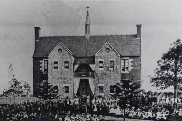 Roman Catholic Orphan School, Parramatta, view of staff and orphans assembled in front of two storey brick building, c. 1870s - 1880s