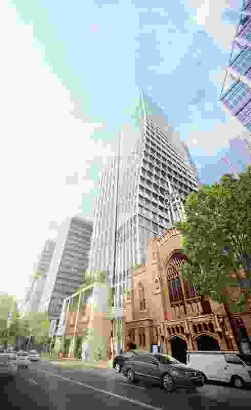 The thirty-two-storey tower curves away from the heritage-listed St Stephen's Uniting Church as it rises.