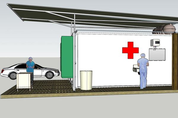 The design of the testing centre is based on a shipping container, which doubles as the packaging for transport.