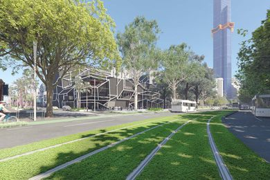 The proposed Southbank park by the City of Melbourne's City Design Studio, featuring the under-construction Australia 108 building by Fender Katsalidis Architects.