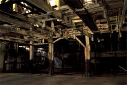 Martin Walch's images of the interior of the warehouse before the renovation, now on display in the hotel.