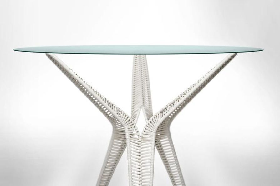 Tom Fereday Su woven modular outdoor table for Hive and Kenneth Cobonpue.