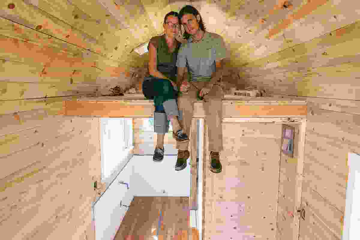 Nikki and Mitchell, featured in the documentary film Small is Beautiful, inside their tiny house.