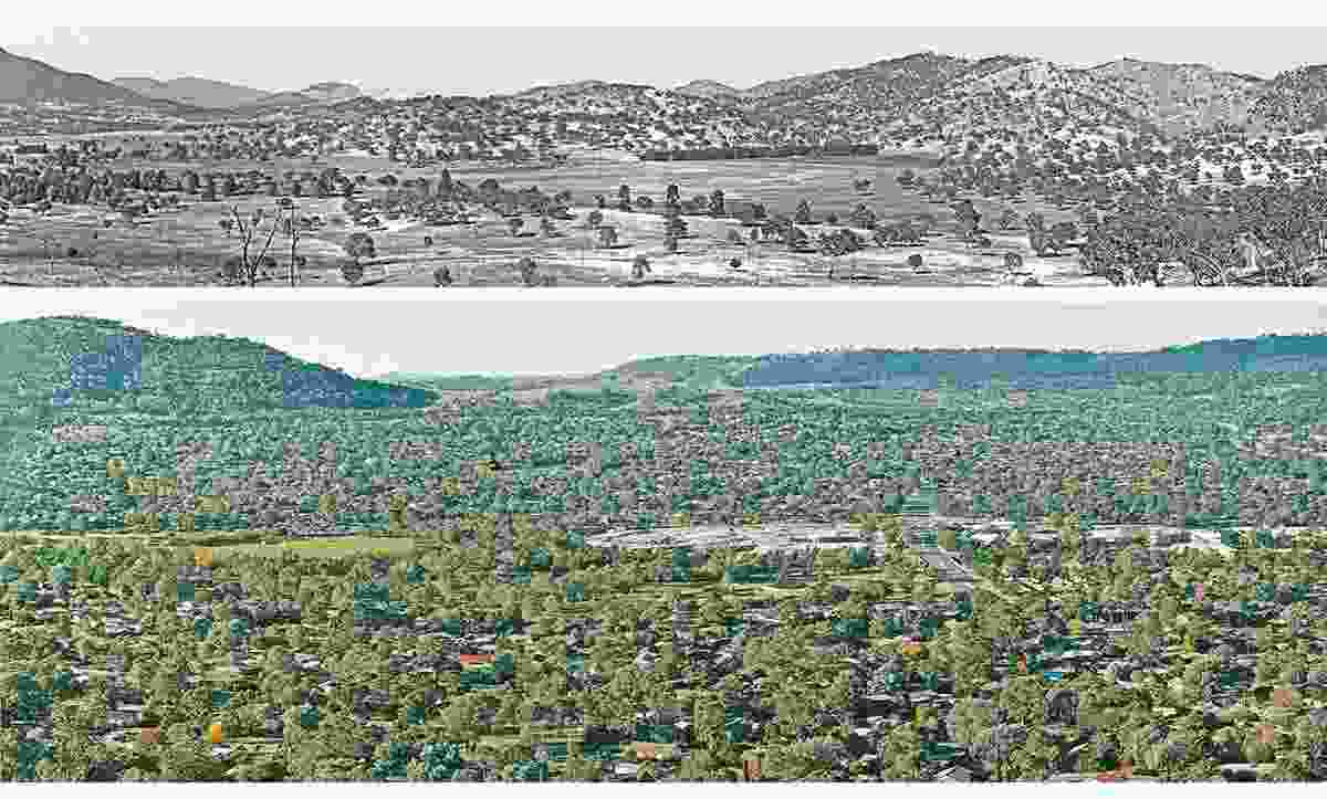 Tuggeranong in the ACT in the 1970s, by Mackenzie and Associates. (top) Tuggeranong more recently. (bottom)