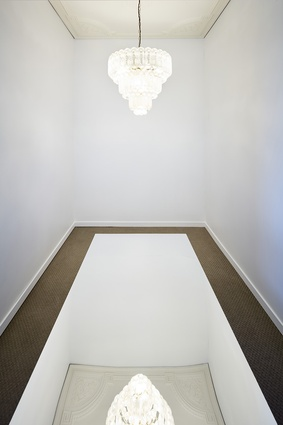 Mirrored plinth reflecting the art deco ceiling rose inside <i>Untitled House</i> by Roh Singh, Larry Parkinson and Morganna Magee.