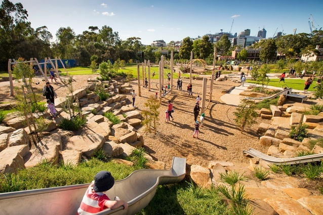 Royal Park Nature Play playground by the internal City of Melbourne landscape design team