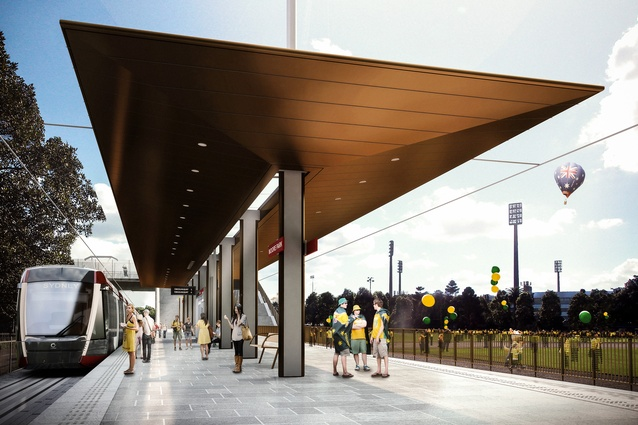Design of the Sydney CBD and South East Light Rail stop at Moore Park by Grimshaw Architects.