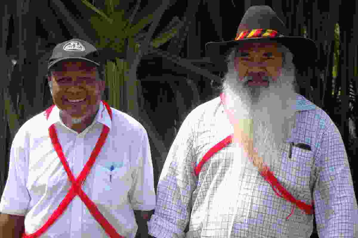 Peter Yu and Patrick Dodson at the signing of the Indigenous Land Use Agreement.