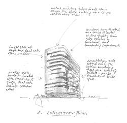 Concept sketch for Birmingham Magistrates' Court describing the series of irregular horizontal cut-outs in the facade.