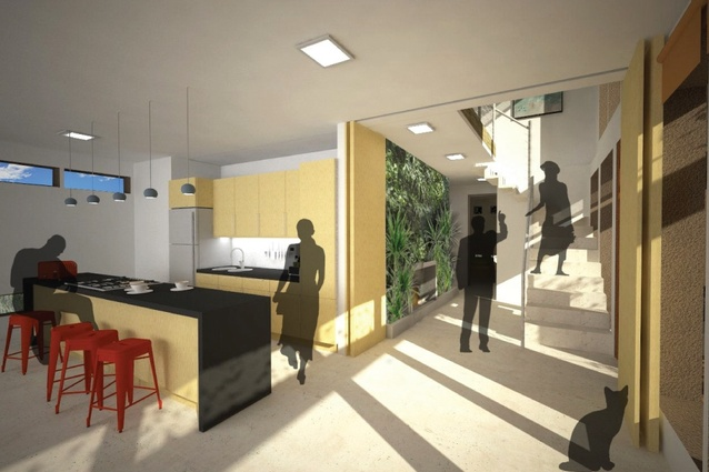 The kitchen and entrance lobby of Team Collaborative Future's winning scheme.
