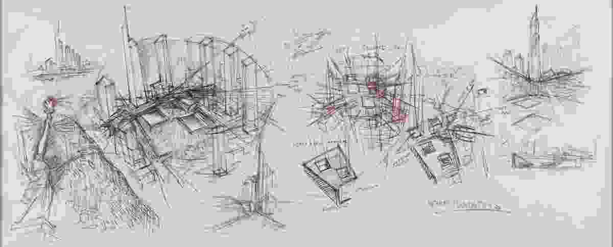 A sketch of the World Trade Centre Master Plan by Studio Daniel Libeskind.