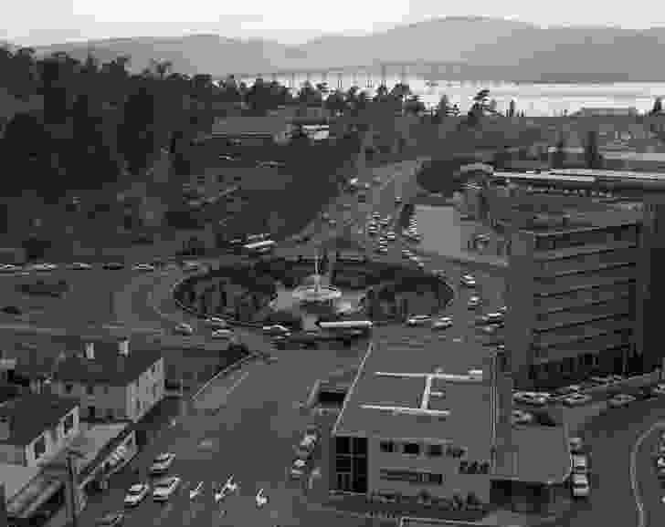 View of the Railway Roundabout in Liverpool Street, Hobart during the 1970s.
