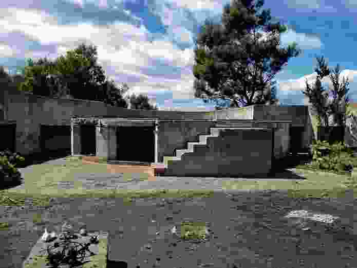 Remnants of the first house built in 1949 on the southern gun emplacement.