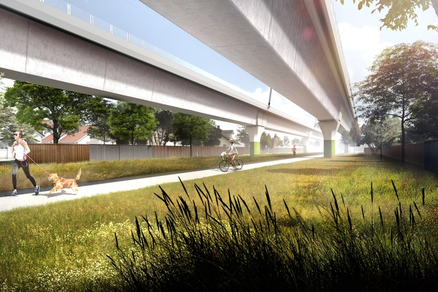 "A linear park designed by Aspect Studios will be created underneath elevated sections of the ""sky rail,"" proposed for the Packenham–Cranbourne line in Melbourne."