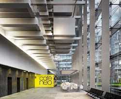 Looking along the length of the lobby, which occupies the lower part of the full-height atrium. Photographer Daniel Hopkinson.
