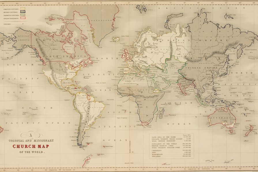 "The Church of England's world map from 1843 delineating its colonies and Christian and ""Heathen"" territories."