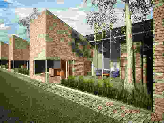 Think Brick proposal: The patina of old bricks gives the repetitive modules of a multiple housing project a sense of former occupation.