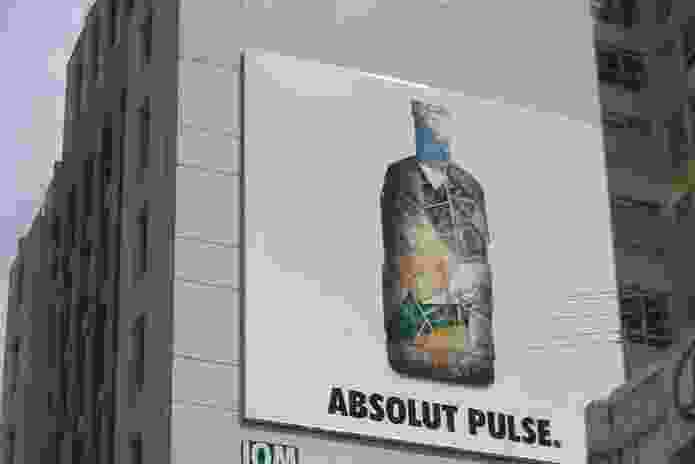 Absolut brand used the symbolic capital of Federation Square on a billboard in Melbourne in 2003