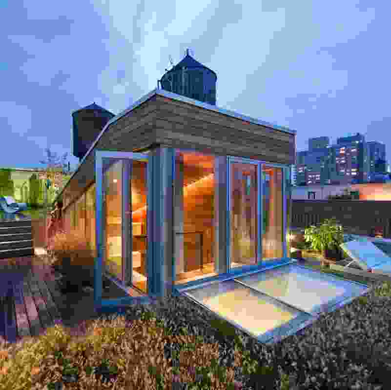 Roof terrace of the Broadway Penthouse (2008) by Joel Sanders Architects.