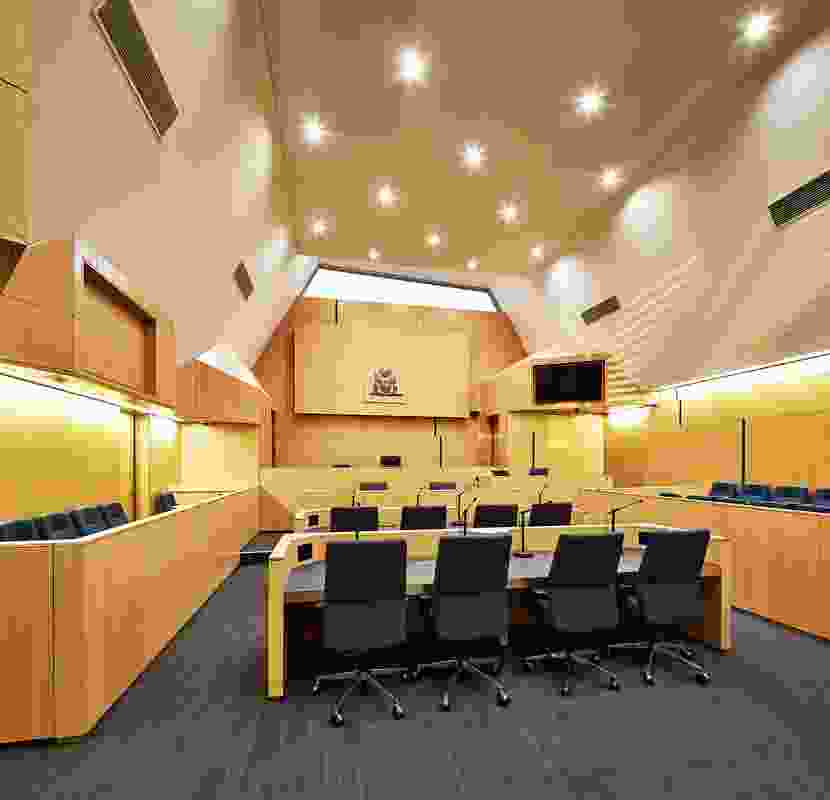 The folded roof is expressed inside the Jury Court.