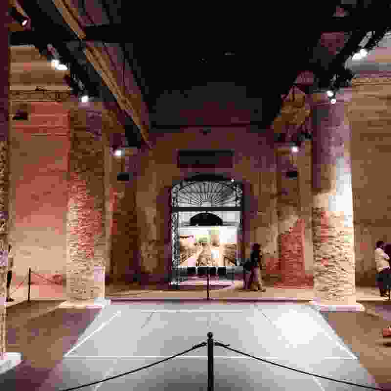 Venice 2014, day one: Inside Monditalia in the Arsenale. Artwork in the background: Countryside Worship by Matilde Cassani.