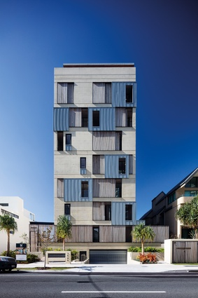 "Architect Virginia Kerridge's ""painterly approach"" to design informed the artfully detailed, articulated facades of M3565 Main Beach Apartments ."