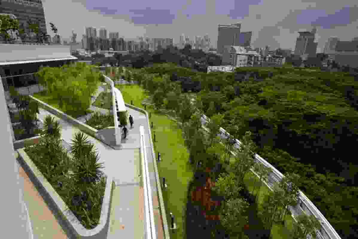 The green roof of keynote speaker Ken Yeang's Solaris project for Singapore.