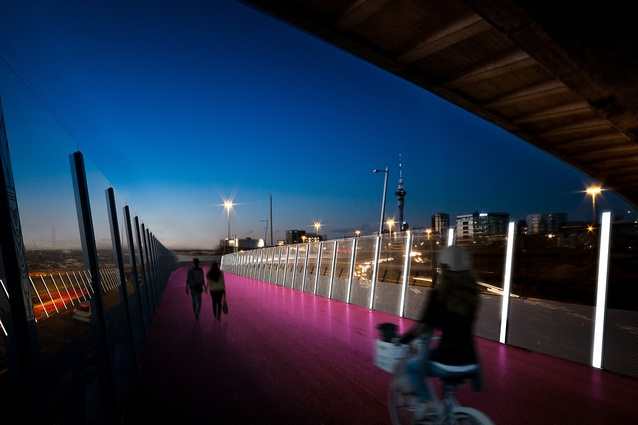 Render of the Nelson Street cycleway at dusk.