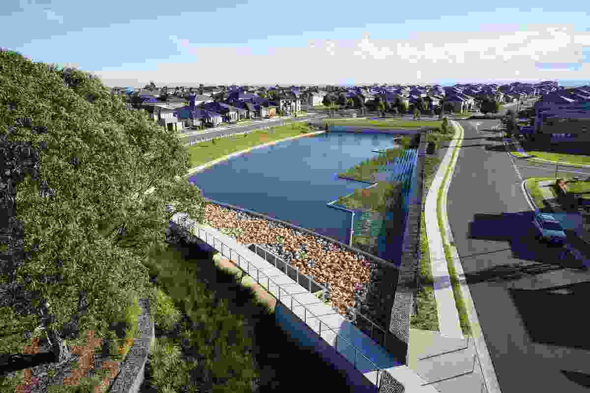Julluck Pond features a curved bridge spillway that treats stormwater and detains flood water.
