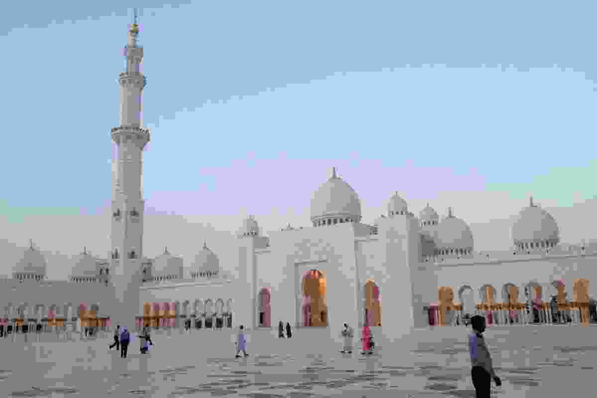 Forecourt of the Grand Mosque in Abu Dhabi.