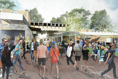 A pop-up village at the Australian National University designed by Oculus, Craig Tan Architects and Therefore Studio.