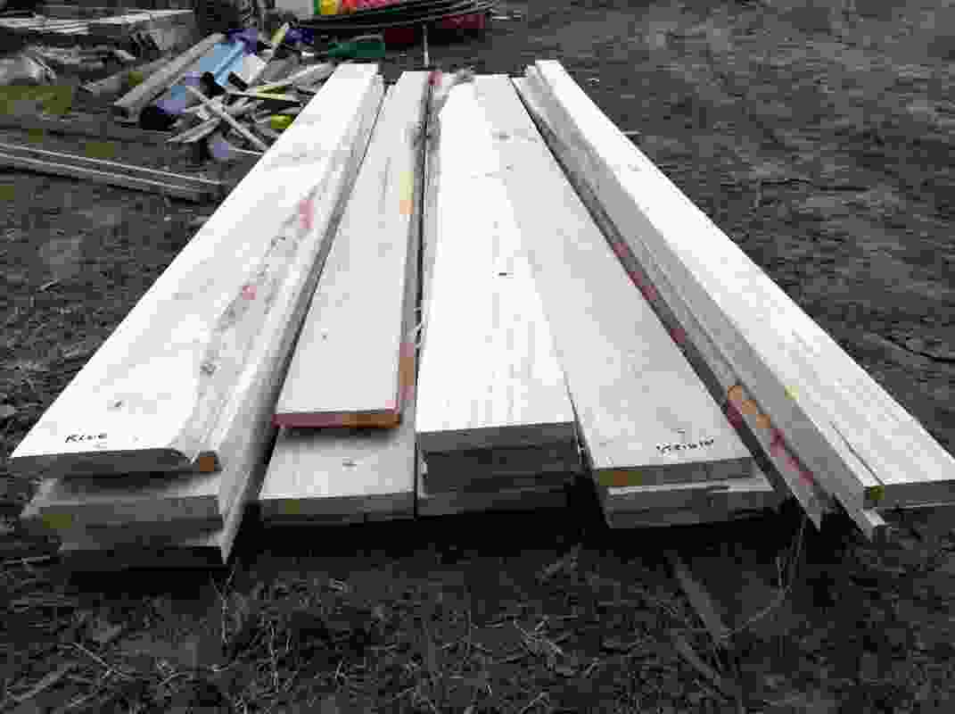 The 60k House will be clad in these rough-sawn weatherboards sourced from trees from the site that had to be felled.