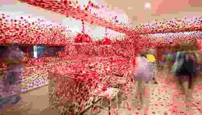 Exhibition image of Yayoi Kusama's Flower Obsession 2017 on display in NGV Triennial at NGV International 2017.