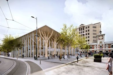 Shigeru Ban's design for a new commercial building on Christchurch's Cathedral Square.