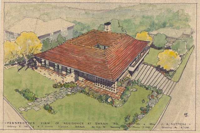 Perspective of the proposed Taringa residence for Mr and Mrs J. A. Sutton by Aubrey H. Job and R. P. Froud.
