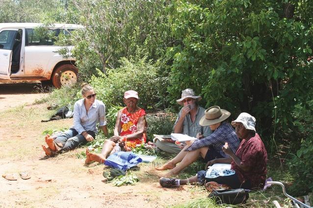 Vanessa Margetts (far left). Field survey reviewing Yawuru habitats and seasons.