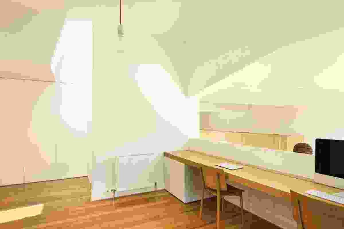 Work bench above the kitchen.