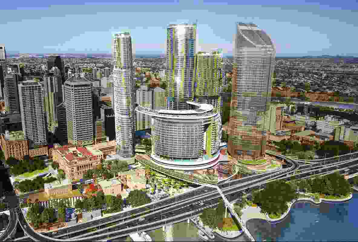 The proposed Queens Wharf Brisbane casino resort designed by Cottee Parker Architects.