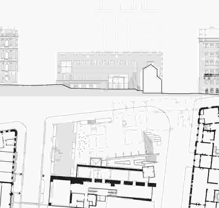 Museum of Sydney elevation and plan, from Public Sydney: Drawing the City.