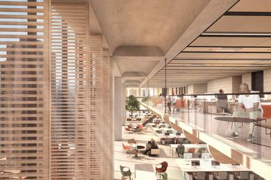 A double-height space in the high-rise section of 210-220 George Street by Grimshaw Architects.
