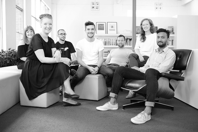 The Hassell Immersery design team (from left): Johanna Picton, Greta Stoutjesdijk (front), Andrea Giuradei, Brenton Beggs, Tim Muhlebach, Claire Chippendale and Yohan Rene.