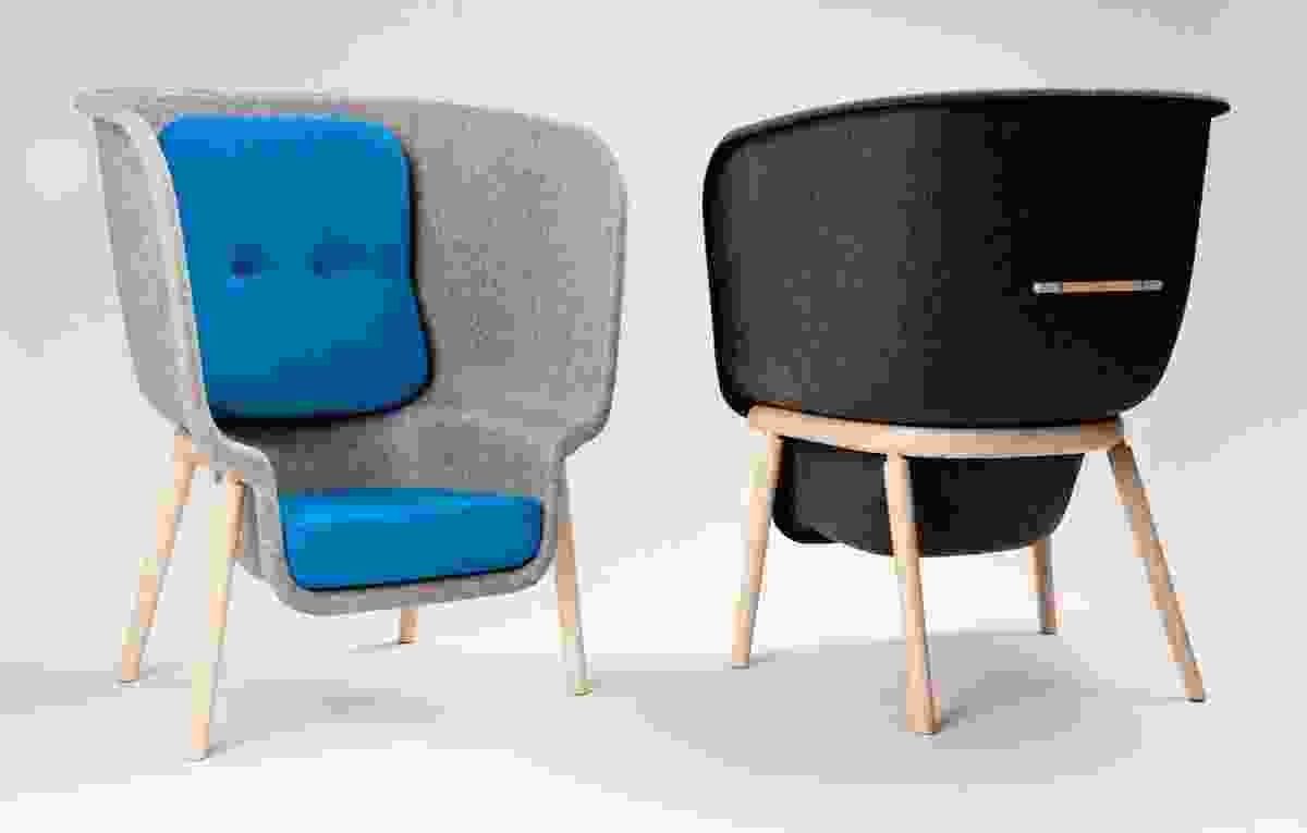 The shell of the pod chair is the largest form ever produced utilizing pressed PET felt technology.