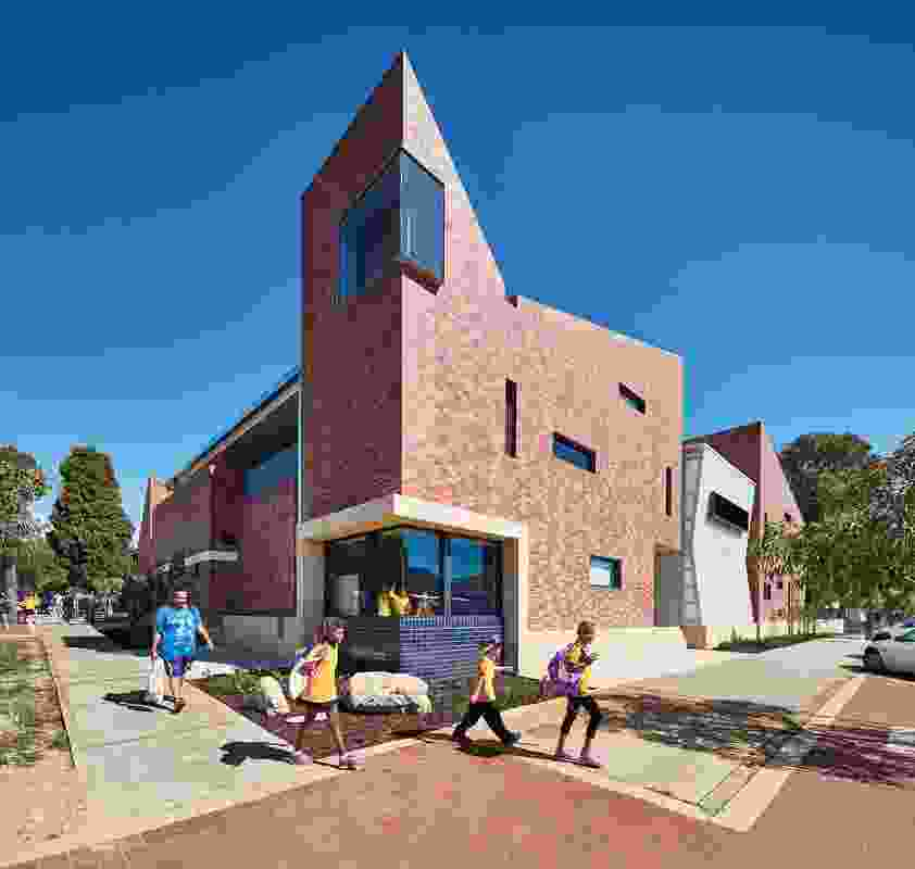 Highgate Primary School New Teaching Building, in Perth's inner north, melds consideration for the scale of a child with the composition of a city in miniature – its massing responding to various peripheral towers.