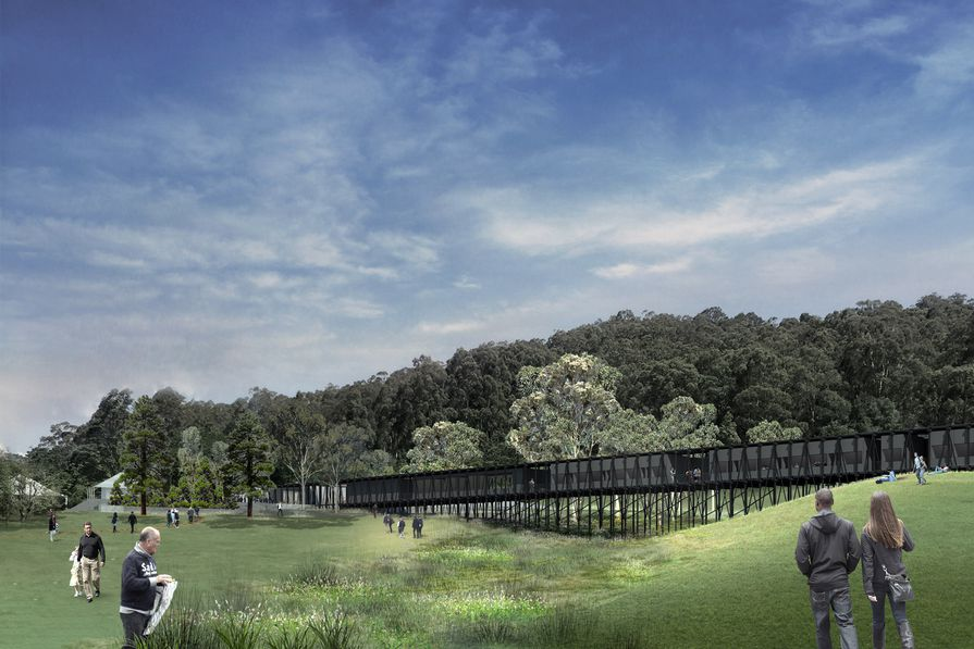 A bridge-like structure for the expansion of Arthur Boyd's Riverdale property designed by Kerstin Thompson Architects.