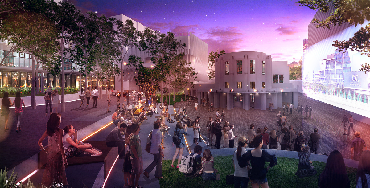 A view of the proposed outdoor amphitheatre. and the revealed facade of the Frank Tate Building.