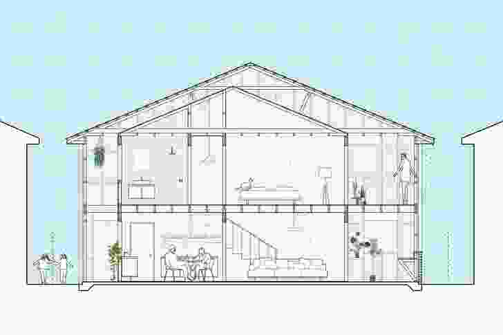 This section through an Offset House by Otherothers depicts how the frame of a large, single dwelling can be reclaimed and repurposed to reframe the house's relationship to the street and the suburb.