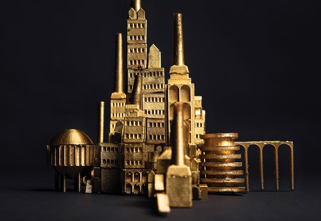 Aureate features small-scale models that make up seven shimmering cityscapes.