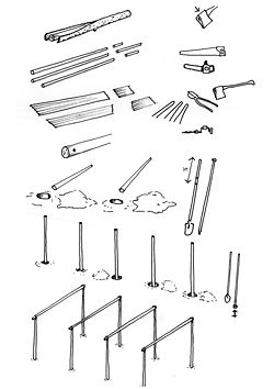 Diagram showing the construction techniques and tools used to make the houses at Goodooga.