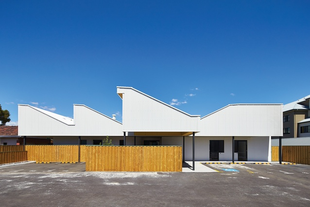 The entry to Tom Fisher House, a night shelter for the homeless in Perth designed by Coda.